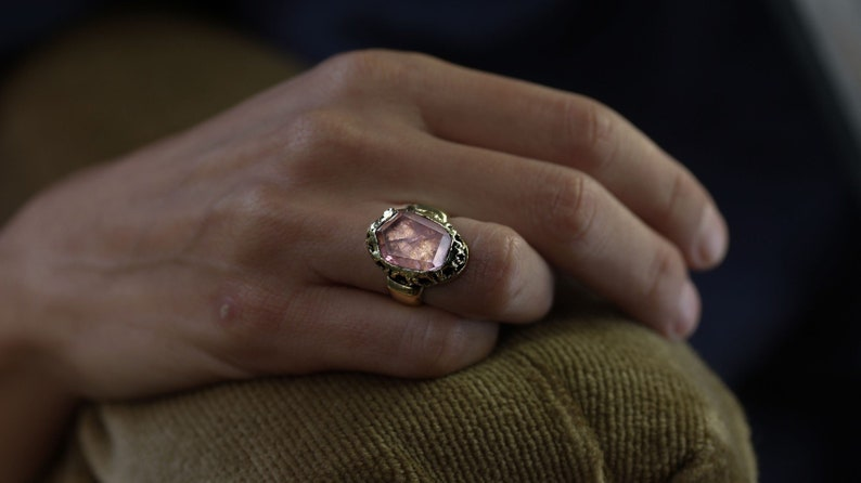 made in bronze or sterling silver Elizabeth Morganite filigree ring
