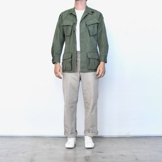 Jungle Jacket Green ranger hippie Four Military Olive Airborne war anti Vintage w jacket Patches Pockets Vietnam Eagle Ripstop qEBxYwEXO