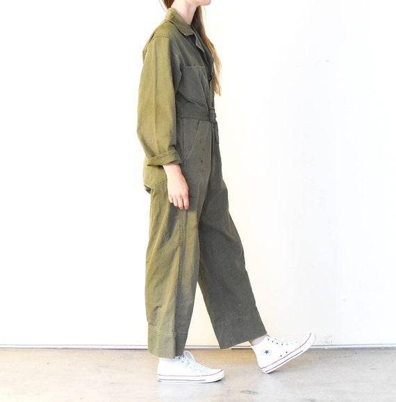 1940s Studio Ceramic Cotton Dungarees Suit Green Twill Coverall Coveralls Artist Full Belt Jumpsuit WW2 Vintage Mechanic Flight BqxAZ5B
