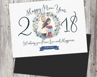 personalized portrait happy new year card custom family or couples portrait family portrait card family drawing unique new years card