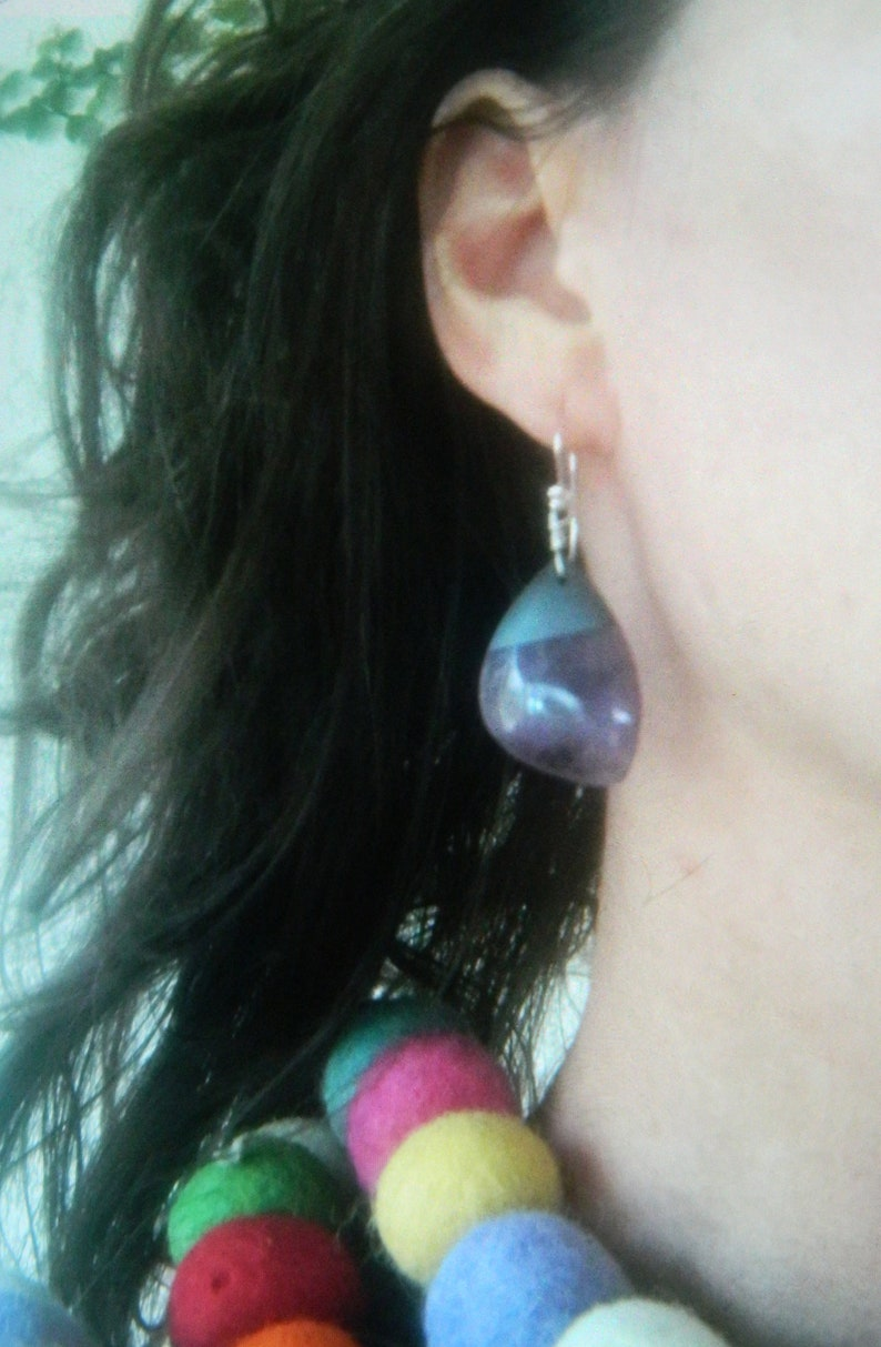 Amethyst Dangles Purple Stones Hematite Earrings Purple Earrings Purple Stone Earrings Amethyst Earrings Gray Stones Lavender Stones
