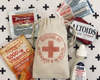 Survival Kit~Hangover Kit Bags ~In Sickness & In Health ~Hotel Guest Bags~ Muslin Favor Bag (3x5 Shown)