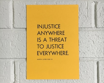 Injustice Anywhere A5 Letterpress Print