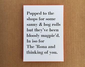 Sanny & Bog Rolls Letterpress Postcard
