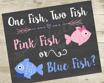Pink Fish, Blue FIsh Gender Reveal Party 16x20 Sign - DIGITAL FILE ONLY