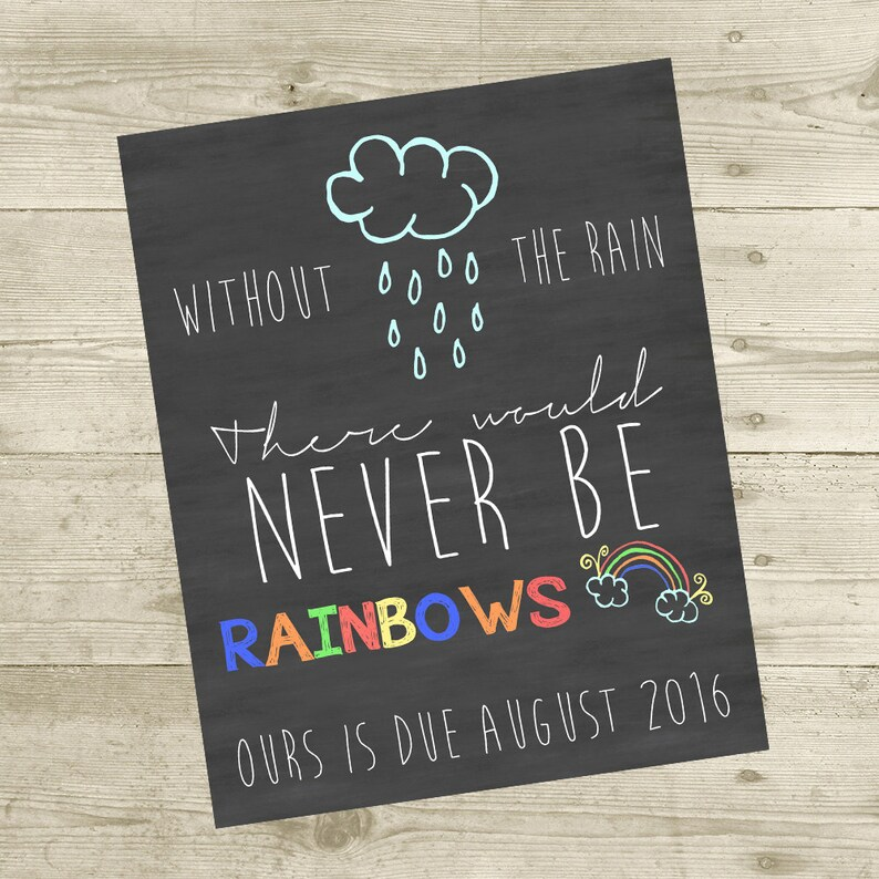 Rainbow Baby Pregnancy Personalized Announcement 8x10 | Etsy