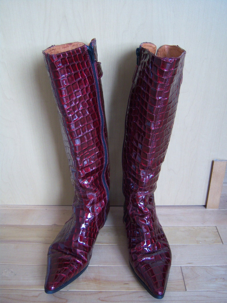dabdcba3d7f Burgundy Patent Leather Tall Boots. Red Boots. Maroon Color | Etsy