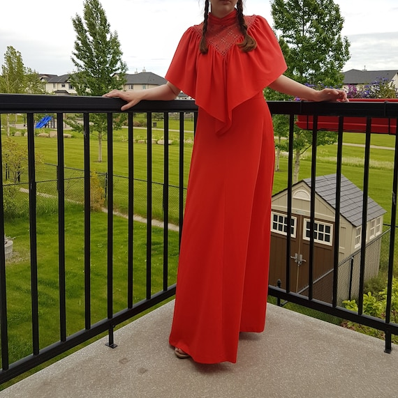 Algo Bohemian Red Maxi Dress from 1970s. Boho Hipp