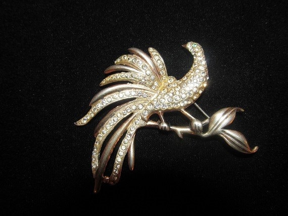 40's Sterling Brooch with Rhinestones