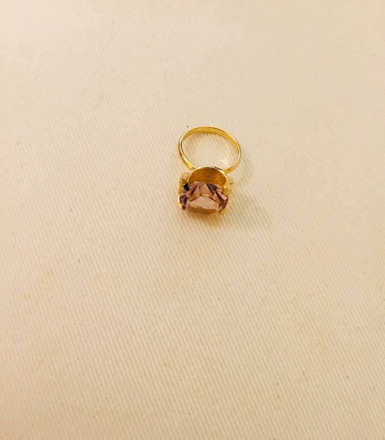 Vintage Faux rose crystal solitaire Ring