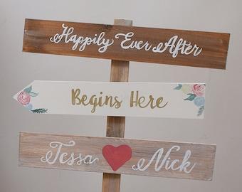 Rustic Wooden Freestanding Wedding Sign