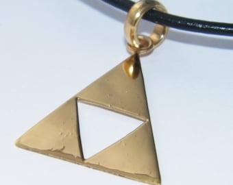 Handcrafted Solid 925 Sterling Silver Legend of Zelda Triforce Pendant  Impressive Triangle Design Pendant-14 K Gold Plated