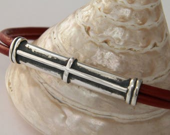 Handcrafted Cross Design Oxidized 925Sterling Silver and Natural Leather Bangle Bracelet