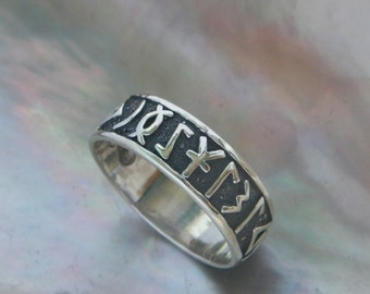 Handcrafted .925 Oxidized Sterling Silver Ring With Celtic Runes