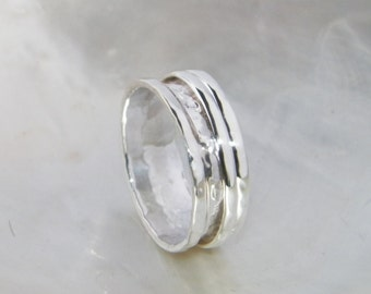 Hammered One Band Sterling Silver Spinner Ring- Stamped.925 Handcrafted -Custom Size