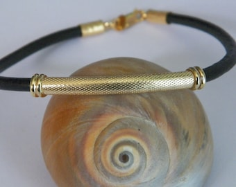 Handcrafted 4mm Leather Cord Bracelet Bangle With .925 Sterling Silver Tube 14 K Gold Plated