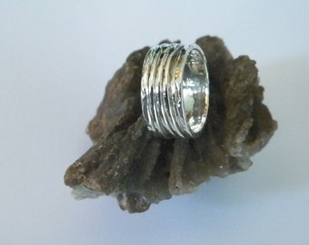 Hammered 3 band Sterling Silver Spinner Ring- Stamped.925 Handcrafted-Custom Size