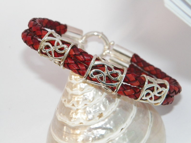 Handcrafted.925 Sterling Silver Elements and Double 6 mm Bolo Braided Leather Bangle Bracelet
