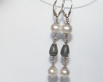 Handmade Labradorite & Fresh Water Pearls .925 Sterling Silver Dangle Earrings
