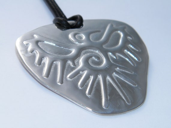 Hand Made Solid .925 Sterling Silver Raven Symbol Necklace Pendant