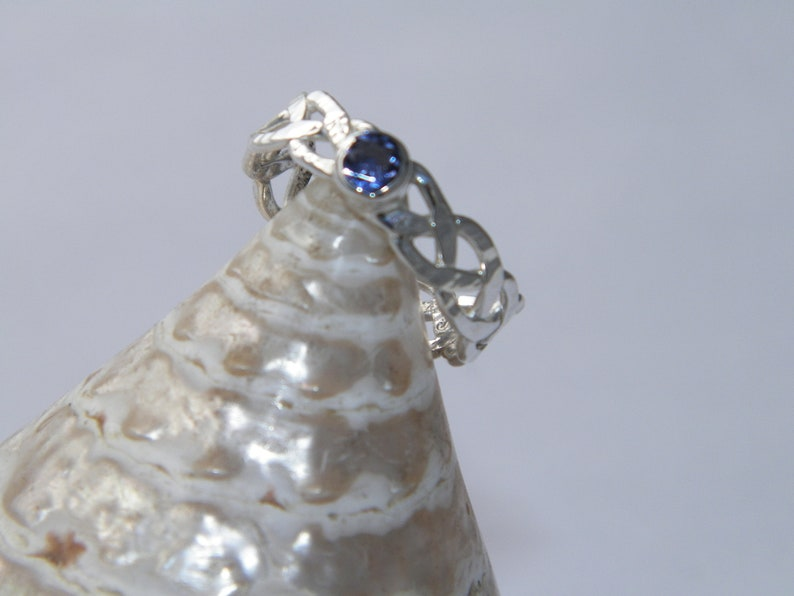 Custom Size Handcrafted Hammered PURE .999 Silver Braided Celtic Ring Natural Lolite Stone