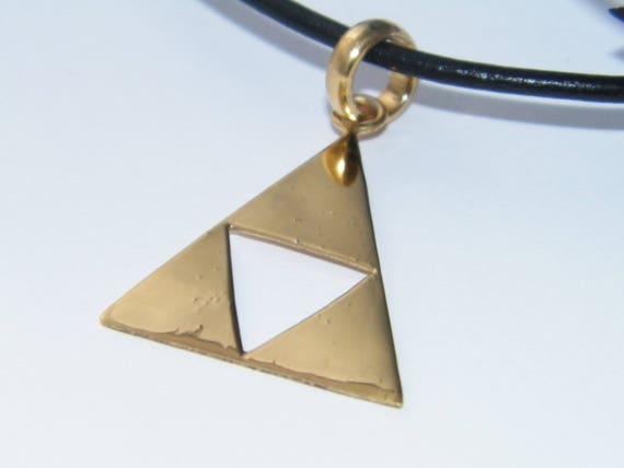 3fa430113fc2b Handcrafted Solid 925 Sterling Silver Legend of Zelda Triforce Pendant  Impressive Triangle Design Pendant-14 K Gold Plated
