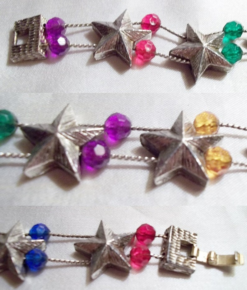 Patriotic Sliding Silvery Stars Bracelet with Colorful Bead Dividers 7 Inches ~15b