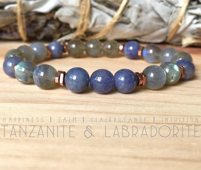 53394ac5401 Tanzanite and Labradorite Bracelet. High-Quality Gemstone   Etsy