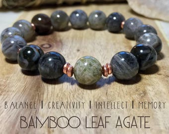 Bamboo leaf agate bracelet. Gemstones. High-quality.