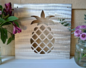 "Metal Pineapple Sign - Pineapple Decor - Metal Sign - Pineapple Sign 12""x12"""