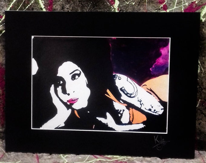 Amy Winehouse | Signed pop art canvas print with black cardboard mount | From an original painting by Kyle Maclennan/Headon Art
