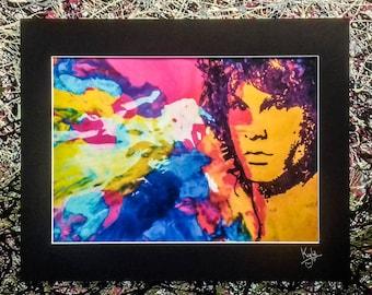 Jim Morrison - The Doors | Signed Art Canvas Print with Black Cardboard Mount