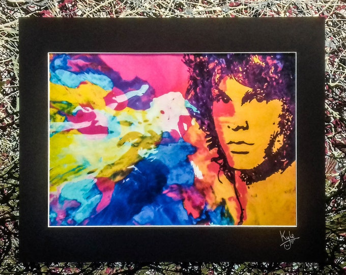 Jim Morrison - The Doors | Signed Art Canvas Print with Black Cardboard Mount