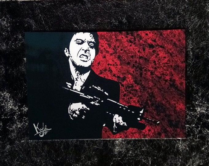 Tony Montana: Scarface   Signed A4 Art Canvas Print   Customised Marble Effect Mount   From Original Painting by Kyle Maclennan   @HeadonArt