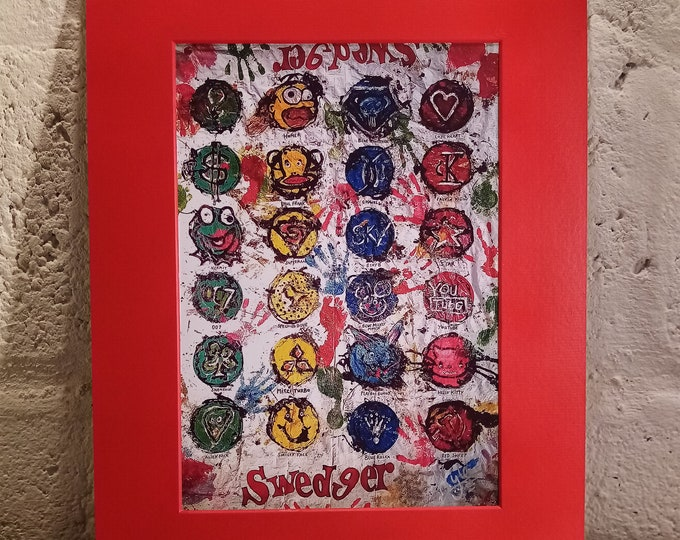 """""""Swedger"""": XTC Twister   Signed A4 Print   Red Cardboard Mount"""