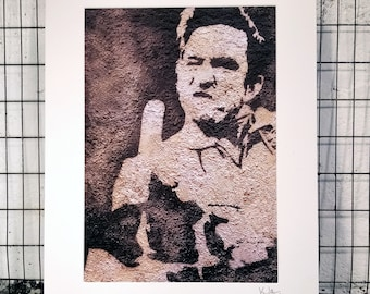 Johnny Cash | Signed & Mounted A3 Canvas Print