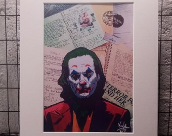JOKER Joke Journal | Signed A4 Art Canvas Print | White Cardboard Mount | @HeadonArt