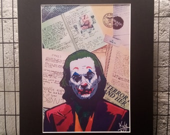 JOKER Joke Journal | Signed A4 Art Canvas Print | Black Cardboard Mount | @HeadonArt