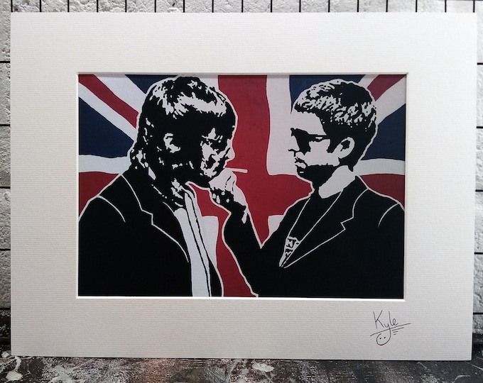 Oasis - Union Jack | Signed & Mounted A4 Canvas Print