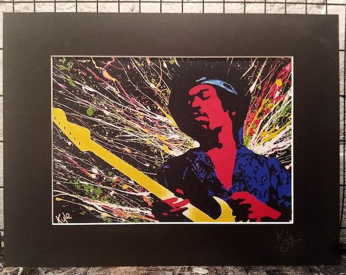 Jimi Hendrix   Signed & Mounted A4 Canvas Print