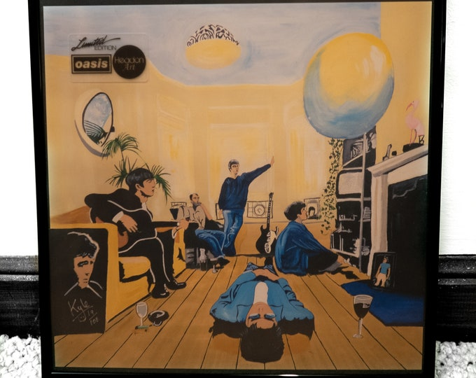Oasis - Definitely Maybe | Signed Limited Edition Art Canvas Print by Kyle Maclennan | @Headon Art | Includes LP Record Frame & COA