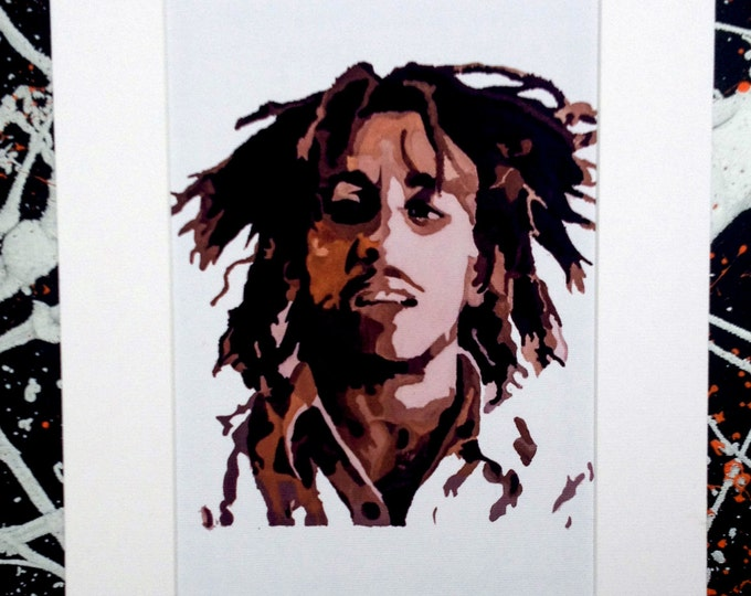 Bob Marley, signed pop art canvas print with cardboard mount. From an original painting by Kyle Maclennan/Headon Art