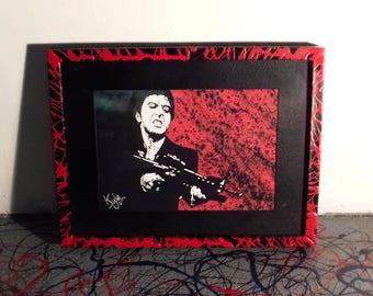 Tony Montana - Scarface. pop art canvas print - Framed. From an original painting by Kyle Maclennan/Headon Art