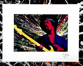 Jimi Hendrix - Signed & mounted canvas print