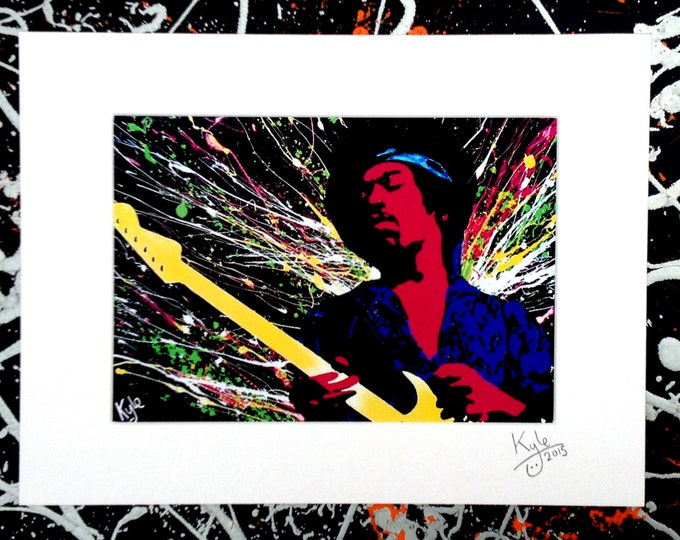 Jimi Hendrix - Signed & mounted canvas print