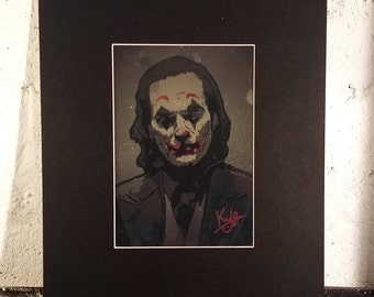 JOKER - Vintage Gold Edition | Hand-finished Print | Elegant 20 x 16 inch Black Mount with A4 Aperture | HeadonArt