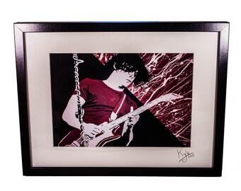 Jack White - The White Stripes, signed art canvas print - Framed. From an original painting by Kyle Maclennan/Headon Art