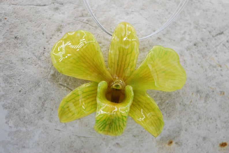 White dyed Green Orchid Necklace  Pendant Necklace  image 0