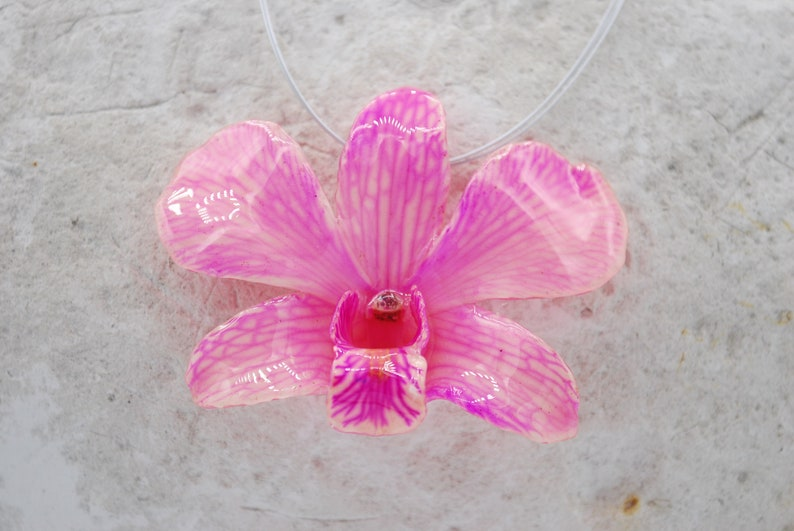 Pink Vein Orchid Necklace  Pendant Necklace  Statement image 0