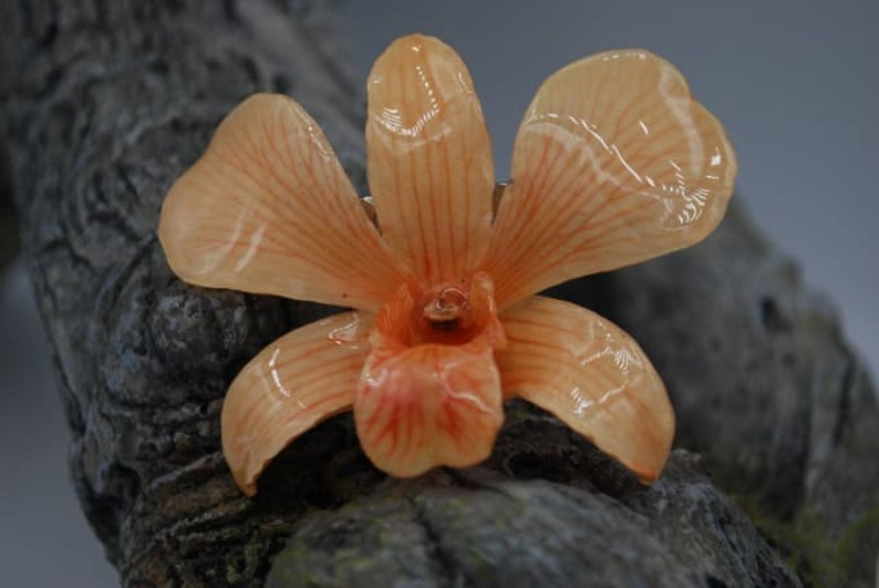 Orange Orchid Hair Clip  Floral Hair Clip  Statement Hair image 0